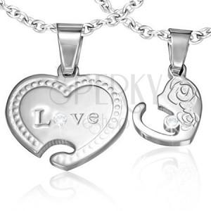 Přívěsky pro dvojici - spojená leská srdce, nápis, růže a zirkony