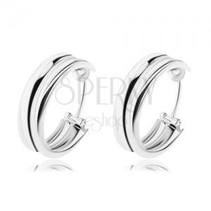 Stříbrné náušnice 925 - kruhy složené ze dvou prstenců