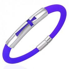 Silikonový náramek kruhový průřez, ocelová známka s křížem, modrý