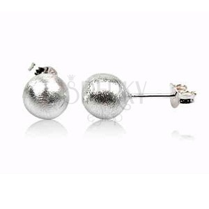 Stříbrné náušnice 925 - perleťové kuličky, 12 mm