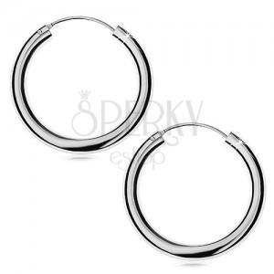 Náušnice ze stříbra 925 - hladké, lesklé kruhy, 30 mm