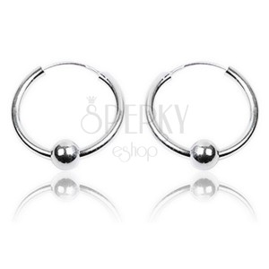 Náušnice ze stříbra - hladké, lesklé kruhy s kuličkou, 30 mm