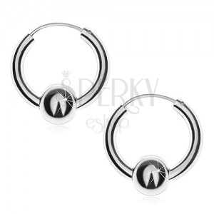 Náušnice ze stříbra - hladké, lesklé kruhy s kuličkou, 20 mm
