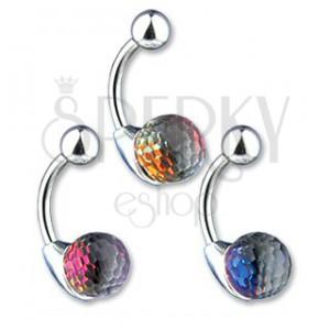 Piercing do pupíku - křišťálová koule, barevný odlesk