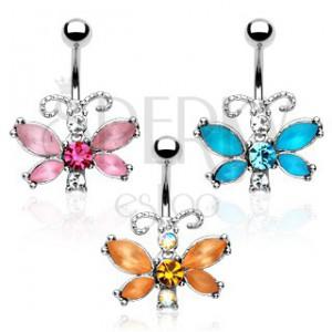 Piercing do bříška - motýl, barevné zirkony, členitá tykadla