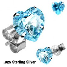 Srdíčkové stříbrné náušnice 925 - různé barvy