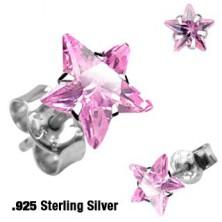 Náušnice ze stříbra 925 - barevná hvězdička, různé barvy