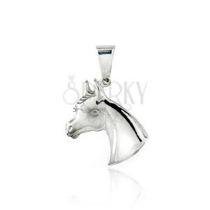 Stříbrný přívěsek - hlava koníka, 20 mm