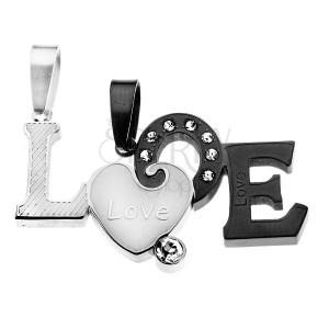 Přívěsky pro dva -  dvoubarevný rozdělený nápis LOVE, matný povrch