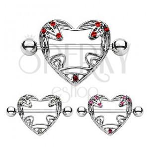 Piercing do bradavky - vykrajované srdce, zirkonky