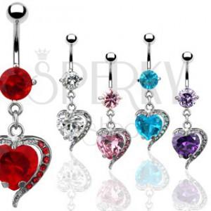 Piercing do pupíku - zirkonové srdce, kovový obrys