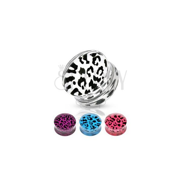 Sedlový plug z akrylu - leopardí vzor, různé barvy a velikosti