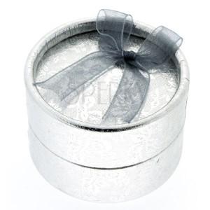 Dárkové balení - stříbrný válec s květy a stužkou