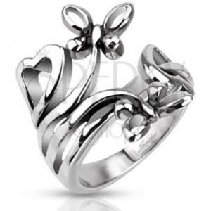 Ocelový prsten s motivy srdcí a motýlů