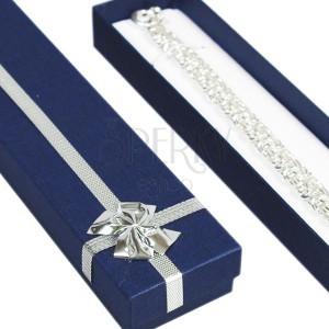Krabička na dáreček podlouhlá - modrá, stříbrná mašle