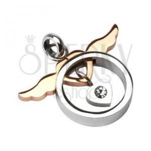 Ocelový přívěsek dvoudílný - křídla se srdcem