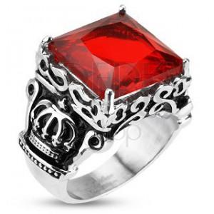 Ocelový prsten - královská koruna, červený zirkon