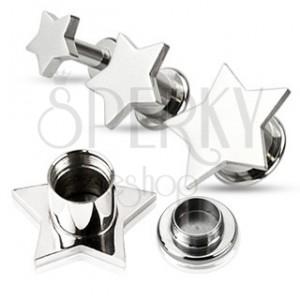 Piercing do ucha - plug z oceli, hladká hvězda