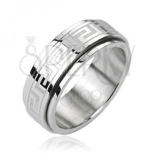 Ocelový prsten - otáčivý střed, řecký klíč, stříbrná barva