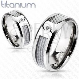 Titanový prsten - bílý síťovaný vzor se zirkonem