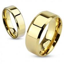 Ocelový prsten zlaté barvy, jemnější zkosené hrany, 6 mm