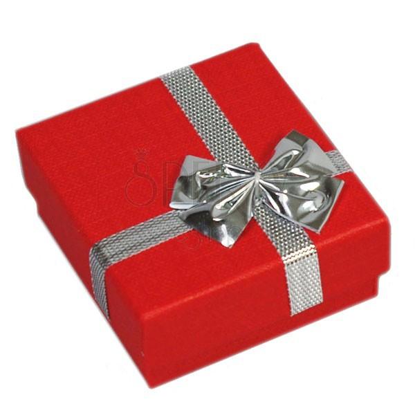 Dárková krabička - na prsteny, červená, stříbrná mašle