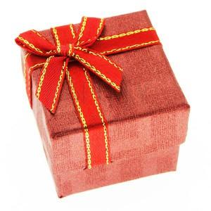 Krabička na prsten - červená kostka, dvoubarevná stuha