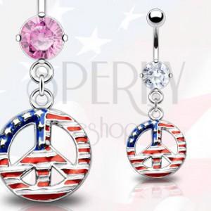 Piercing do pupíku - symbol míru, americká vlajka | Šperky Eshop