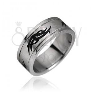 Prsten z chirurgické oceli - tribal motiv