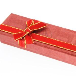 Dárková krabička na řetízek - červená, dvoubarevná mašle