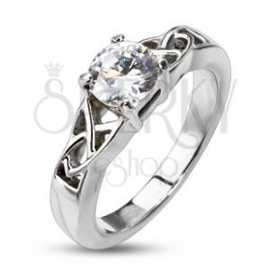 Ocelový zásnubní prsten - uzlíky kolem kulatého zirkonu