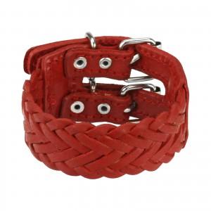 Kožený náramek - mohutný červený pletenec