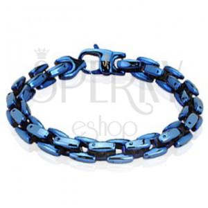 Mohutný lesklý náramek z chirurgické oceli v modré barvě