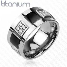 Titanový prsten zdobený zirkony a černými čtverci K16.4