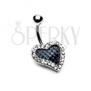 Piercing do pupíku - karbonové srdce se zirkony po obvodu