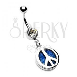 Piercing do pupíku se symbolem PEACE a riflovinou