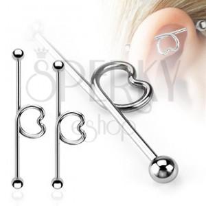 Ocelový piercing do ucha - tyčinka se srdcem a kuličkami