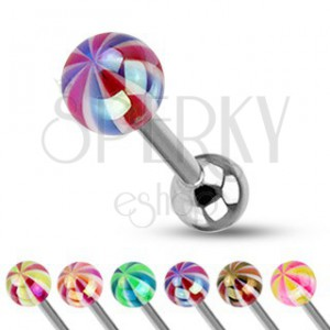 Piercing do jazyka - barevná kulička s perleťovým leskem