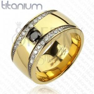 Prsten z titanu zlaté barvy se zirkonovými půlměsíci