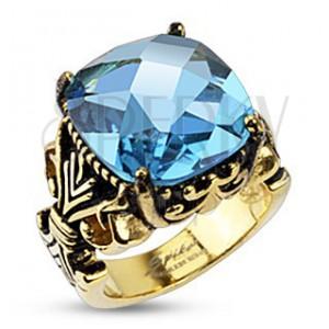 Ocelový prsten s královským motivem a velikým zirkonem