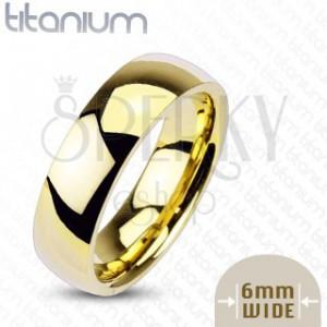 Titanový prsten zlaté barvy, 6 mm