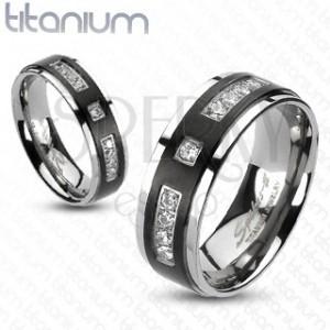 Prsten z titanu s matným černým pruhem a kamínky