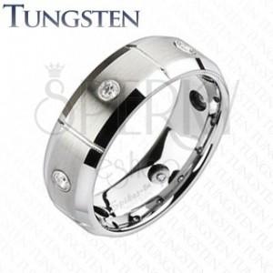 Wolframový prsten s broušenými obdélníky a zirkony