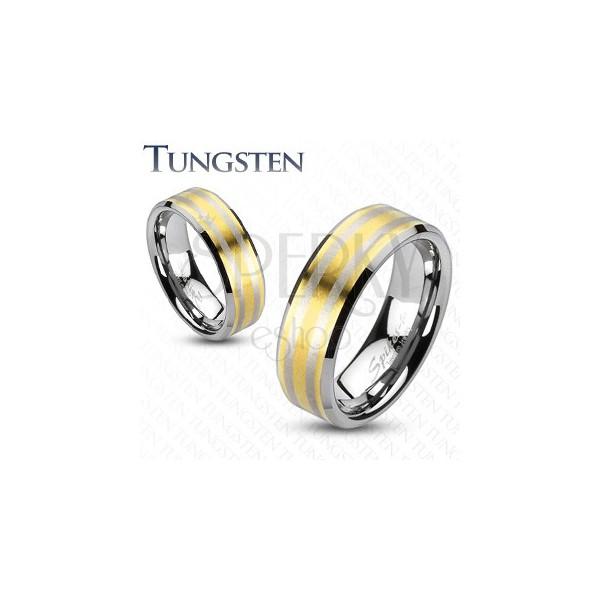 Wolframový prsten se dvěma pásky zlaté barvy