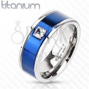 Titanový prsten s modrým pruhem a čtvercovým zirkonem