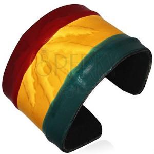 Kožený RASTA náramek - vystouplá marihuana, barvy Jamaiky