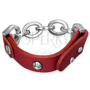 Kožený náramek - vybíjený pásek kůže a ocelová očka
