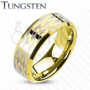 Wolframový prsten s keltským uzlem zlaté barvy