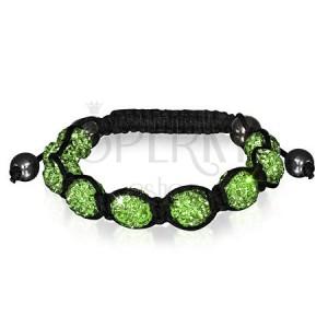 Shamballa náramek - třpytivé zelené korálky, hematitové kuličky