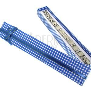 Dárková krabička na náramek - modro-bílé čtverčeky, zlato-modrá stuha